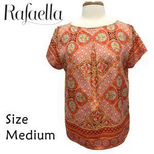 Rafaella Size Medium Coral Orange Floral Geometric